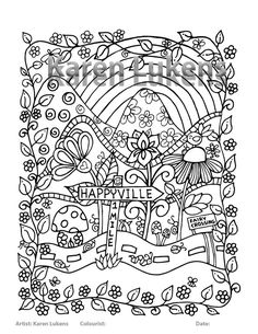 Check out this item in my Etsy shop https://www.etsy.com/listing/452492904/happyville-1-mile-ahead-1-adult-coloring