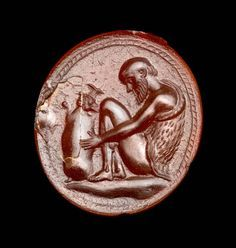 Oval gem with Silenos holding a wineskin Greek or Roman Hellenistic Period century B. Hellenistic Art, Hellenistic Period, Antique Rings, Antique Jewelry, Wax Seal Ring, Ancient Greek Art, Mourning Jewelry, Historical Artifacts, Gold And Silver Rings