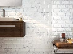 Metro White Carrara Marble Effect Bevelled Tiles