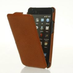 Brown Genuine leather flip case cover for Samsung Galaxy S 2