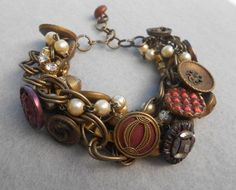 Victorian Button Bracelet, Assemblage, Vintage Repurposed, Upcycled ...
