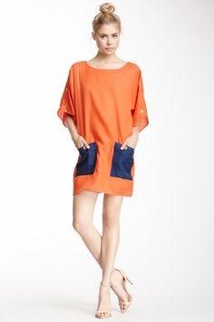 Fountain Button Shift Silk Dress