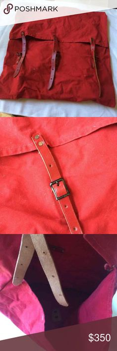 """Kelly How Thompson Duluth Red Backpack Huge vintage canvas backpack. Canvas and leather. Made in Duluth Minnesota. Very good condition. Measures 21"""" wide X 22"""" tall. Huge open bag, no other compartments in it. Kelly How Thompson Bags Backpacks"""