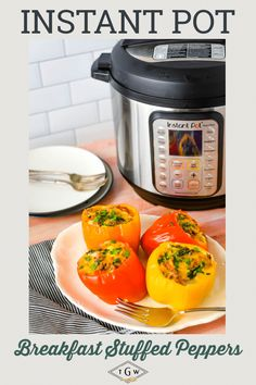 Breakfast Stuffed Peppers in the Instant Pot are a quick and delicious meal any time of the day. Perfectly cooked peppers are loaded with soft scrambled eggs, breakfast sausage, peppers, onions, and just enough cheese. A quick and healthy meal the whole family will love.
