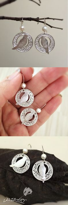 Cute bird earring - handmade silver earring - handmade earring - little birds earring - art clay silver earring with pearl - girls earring.Designed and made by LalipArt