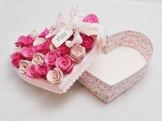Heart Shaped Box With Roses - Shabby Chic
