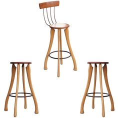Set of Three Pitch Fork & Axe Handle Bar Stools