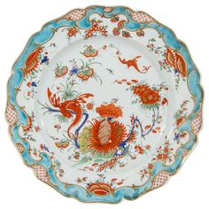 Rare Antique Dr. Wall First Period Worcester Porcelain Jabberwocky Pattern Dish 1