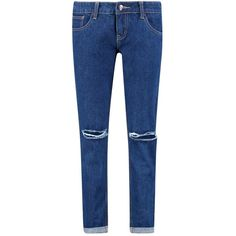 Boohoo Abigail Low Rise Knee Rip Boyfriend Jeans ($18) ❤ liked on Polyvore featuring jeans, high waisted boyfriend jeans, high waisted ripped jeans, slim straight jeans, ripped jeans and distressed skinny jeans