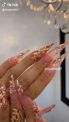 Edgy Nails, Dope Nails, Swag Nails, Stiletto Nails, Swarovski Nails, Rhinestone Nails, Diamond Nail Art, Acrylic Nails Coffin Pink, Peach Nails