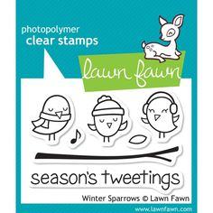 Lawn Fawn Winter Sparrows Photopolymer Clear Stamp Set