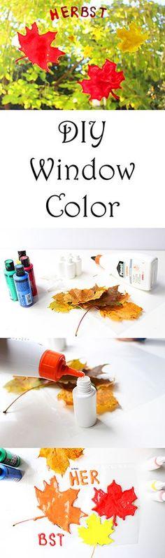 Basteln im Herbst mit Kindern: Window Color Blätter Fenster Bild selber machen