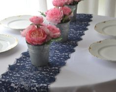 """NAVY LACE table runner 9"""" wide 3FT -14FT length/ends cut not hemmed/Blue Lace /Navy Wedding decor/Free Sample Swatch available/ LolaAndBea"""