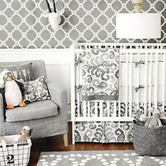 Urban Ikat in Gray Baby Bedding