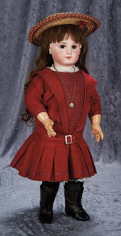 """""""Among Friends, The Billie and Paige Welker Collection"""": Lot # 102: Beautiful French Bisque Bebe Jumeau, Incised Depose Model, in Fine Antique Costume"""