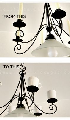 Chandelier transform with thrifted coffee cups Coffee Shop, Coffee Cups, Thrifting, Chandelier, Ceiling Lights, Lighting, Creative, Diy, House