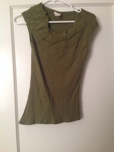 Anthropologie asymmetrical hemline moss green T with cap sleeves