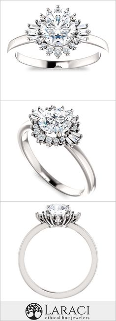 14K White Gold Art Deco Inspired Moissanite Engagement Ring set with a 1ct (6.5mm) Round Forever One Near Colorless Moissanite