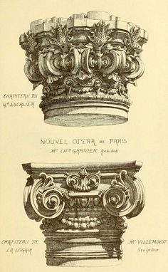 archimaps: Capital designs for Garnier's Opera House, Paris Detail Architecture, Classical Architecture, Architecture Drawings, Historical Architecture, Art And Architecture, Love Drawings, Drawing Sketches, Art Drawings, Ornament Drawing