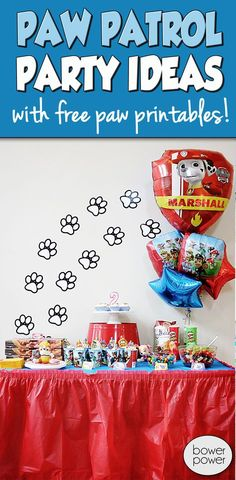 Paw Patrol Birthday Party Ideas - Bower Power Also - links to her other boy parties.