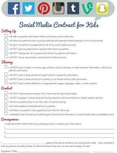 Social media contract for kids