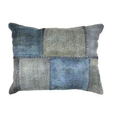 vtwonen Kussen Blok Print pillow- Donkerblauw / Voor-Thuis