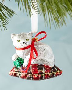 Cat on Pillow Christmas Ornament at Neiman Marcus.