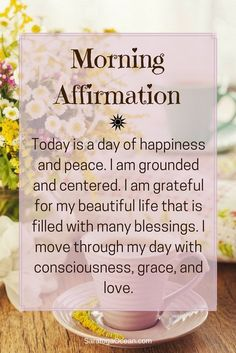 Affirmations are a wonderful way to start your day. They can help you set the tone for how you want your experience to be, and aid you in establishing your intention for the day. Holistic Health Tips for Beginners, , Daily Affirmations Vie Positive, Positive Thoughts, Positive Vibes, Positive Quotes, Gratitude Quotes, Positive Outlook, Affirmation Quotes, Affirmations Positives, Daily Affirmations