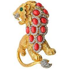 1960-е годы Кеннет Джей Лейн Коралл Изумруд Алмаз Золотой лев брошь