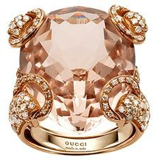 Gucci Rose Gold Horsebit Ring with Morganite and White Diamonds.