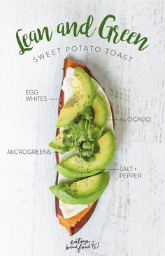 Lean and Green Sweet Potato Toast with egg whites, avocado, microgreens, salt + pepper