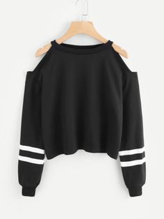 Cold Shoulder Varsity Striped Sweatshirt