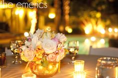 pink & gold wedding centerpiece