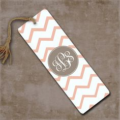 Chevron pink and tan metal bookmark, monogram pink and white chevron, personalized book mark, custom monogram (9705) on Etsy, $6.99