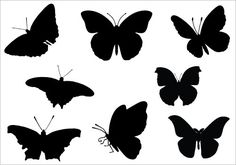 Silhouette Butterfly Clipart Black And White 4