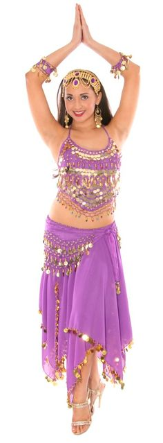 16f689a6f57 Arabian Belly Dancer Costume with Coins   Paillettes - PURPLE