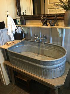 - New Ideas Sheep trough sink. Horse Trough Bathtub, Trough Sink Bathroom, Barn Sink, Outside Sink, Outdoor Bathtub, Water Trough, Barn Apartment, Barn Kitchen, Wash Tubs