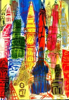 This is my fine art painting on the theme of cities - in particular London buildings - taken inspiration from visiting London and looking at Raoul Dufy and Cheism. Looks better in real life ha
