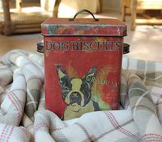 Antique Tin Containers | VINTAGE STYLE Boston Terrier DOG TREAT TIN BIN/CONTAINER/CAN Red Food ...