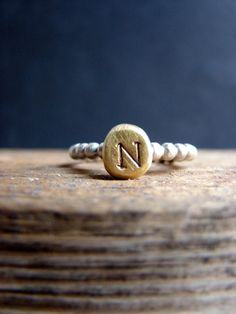 Initial Ring Custom Letter Gold Plated Alphabet Jewelry Typography Personalized Gifts for Her Under 75 by Nafsika on Etsy https://www.etsy.com/listing/179681932/initial-ring-custom-letter-gold-plated