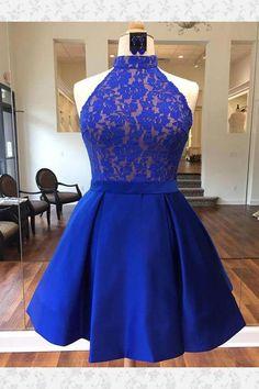 Prom Dress Blue, Prom Dress Short, Homecoming Dress For Cheap Homecoming Dresses 2018 Short Lace Bridesmaid Dresses, Blue Homecoming Dresses, Cute Prom Dresses, Dress Prom, Formal Dress, Party Dresses, Wedding Dresses, Vestidos Azul Royal, Vestidos Color Azul