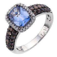 LeVian 14CT Gold Seventy Point Diamond & Blue Topaz Ring