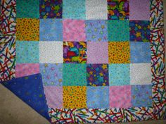 Brightly Colored Flannel Baby or Cuddle Quilt 34 by JGlessDesigns, $40.00