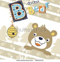 vector cartoon of cute bear and bee hive Boys Summer Shirts, Summer Boy, Boys T Shirts, Cartoon Drawings, Animal Drawings, Embroidery Patterns, Print Patterns, Kids Vector, Baby Kids Clothes