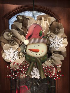 Burlap snowman Christmas wreath with champagne glitter and snowflakes