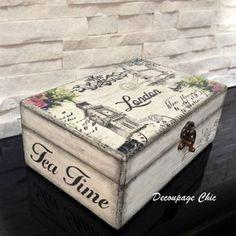 Tea box black and white london box tea time box Tea | Etsy