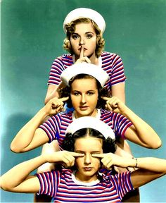 ":D And I love Deanna Durbin! Nan Grey, Barbara Read, and Deanna Durbin in ""Three Smart Girls"" - Vintage Photographs, Vintage Photos, Vintage Films, Deanna Durbin, Three Wise Monkeys, Photo Repair, See No Evil, Three's Company, Smart Girls"