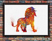 The Lion King Simba Watercolor Art Print Wall Art Home Decor Giclee Inspirational Art Home Decor Wall Hanging