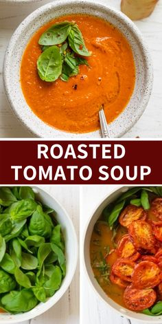 This Roasted Tomato Soup is made with simple pantry items along with juicy ripe tomatoes and fresh basil, then blended into a creamy flavorful homemade soup Easy Dinner Recipes, Breakfast Recipes, Easy Meals, Simple Recipes, Oven Roasted Tomatoes, Roasted Tomato Soup, Healthy Salad Recipes, Veggie Recipes, Veggie Food