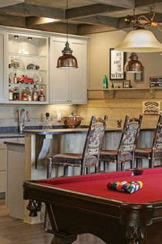 Bonus Room: Billiards + Game Room A game room in the lower level is an ideal spot for entertaining, with a well-stocked and pool Rustic Room, Modern Rustic Homes, Pool Tables For Sale, Trending Decor, Game Room, Log Home Interior, Home Decor, Log Homes, Durable Flooring